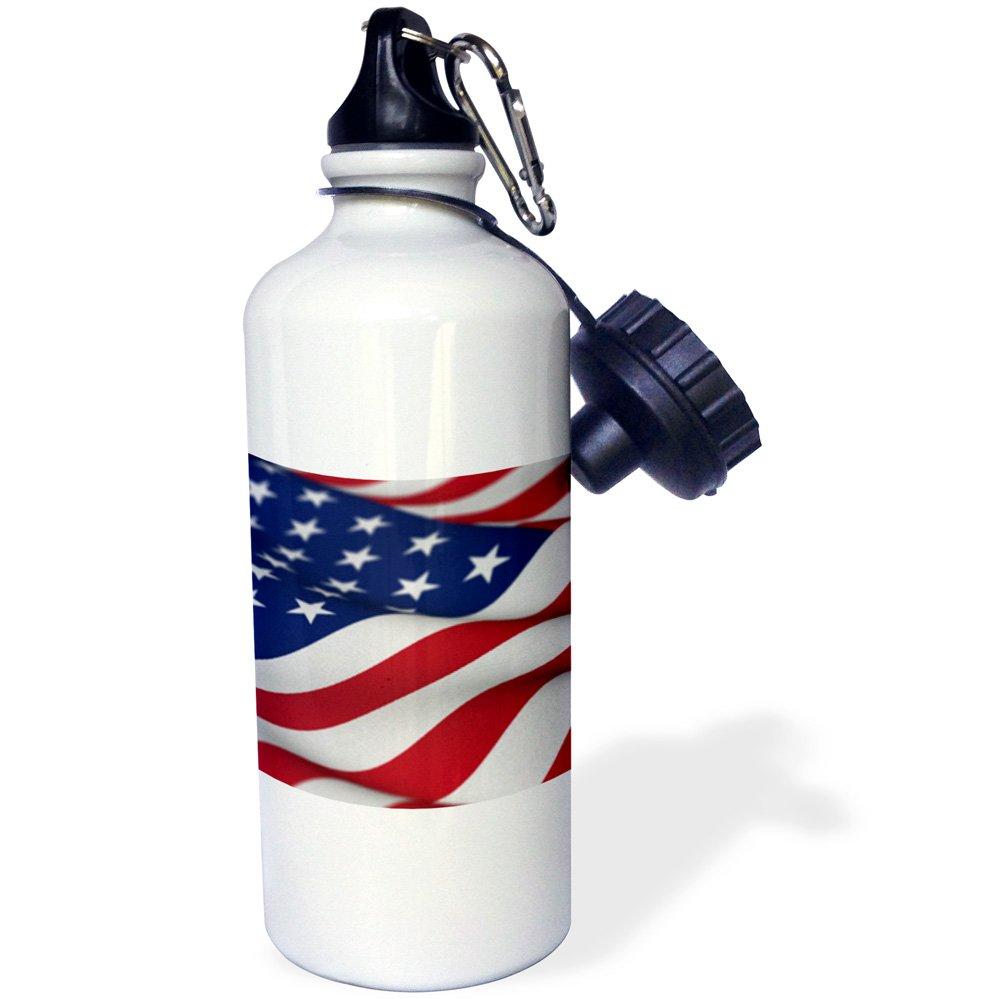 3dRose wb_155107_1 ''USA Flag American America Banner Stars Stripes patriot patriotism patriotic united states us'' Sports Water Bottle, 21 oz, White