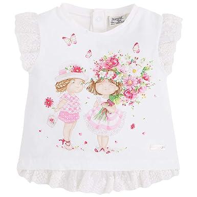 e068ce50e Amazon.com: Baby Girls 3M-24M Lace Trim Novelty Print Short Sleeve T-Shirt  (3 Months, Rose/Pink): Clothing