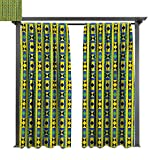 bybyhome Extra Wide Outdoor Curtain Kente Pattern Geometric Vertical Borders Funky Colorful Native Kenya Design with Triangles W96 xL84 Suitable for Front Porch,pergola,Cabana,Covered Patio
