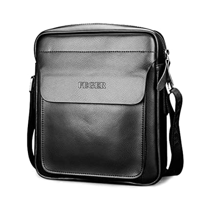 24d88d9e28 Amazon.com  Mufly Men s Genuine Leather Shoulder Bag Handmade Messenger  Briefcase Crossbody Handbag Ipad Bag (Black)  Office Products