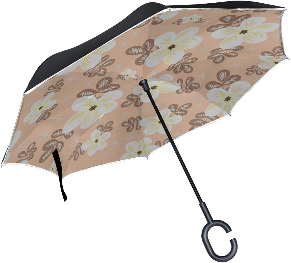 Double Layer Inverted Inverted Umbrella Is Light And Sturdy Botanical Floral Pattern Jasmins Reverse Umbrella And Windproof Umbrella Edge Night Refle