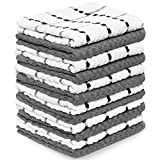 Zeppoli Kitchen Towels, 12 Pack - 100% Soft Cotton -15' x 25' - Dobby Weave -Great for Cooking in Kitchen and Household Cleaning (12-Pack Cotton)