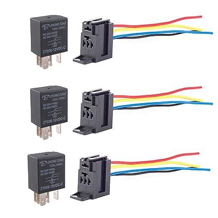 amazon com esupport 3pcs universal black 30a 12v dc spdt relay kit