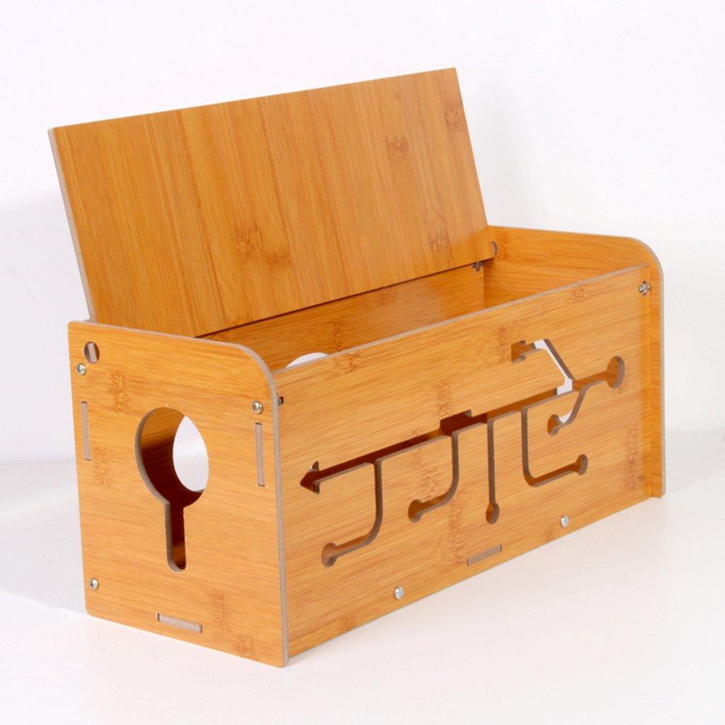 Scatola Portacavi In Legno, GZD Wire Cord Manager Case Box Desk Tidy Organizer Per Scrivania, TV, PC, Casa E Ufficio, 35 * 14 * 15Cm