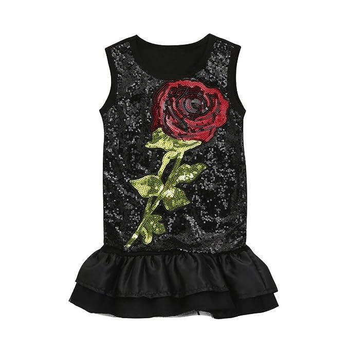 vestidos de niña, ASHOP Vestido de lentejuelas sin mangas bordado de flores vestidos de princesa Tutu casual vestido de verano Ropa para 1-5 años, ...