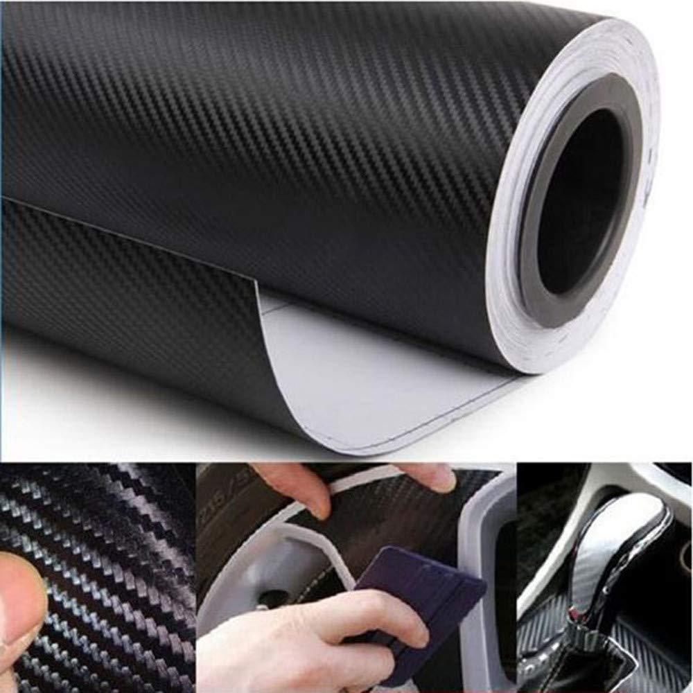USHOT Black Fashion 3D Carbon 15210cm Fiber Vinyl Sticker For Motorcycle Car Ipod Black One Size