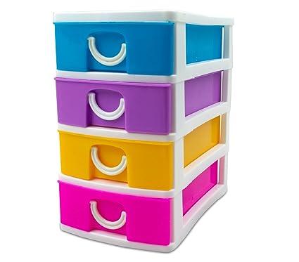 391600 Mini cajonera de 4 Pisos WELKHOME Plástico multicolor ...