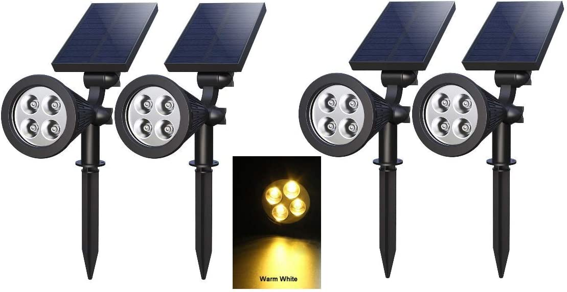 Eminent Upgraded Solar 2-in-1 Waterproof Outdoor Landscape Spotlight – Wall or Ground Mounted Spot Lighting, Rechargeable Battery, Adjustable Panels – Pathway, Garden Lights – 4 Pack, Warm White LED