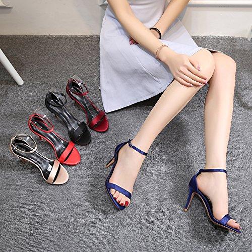 Mujer Con Tacón Satén De Fino Vivioo Negro Zapatos Black Rojo Comodín 6cm Vino Sandalias Alto xZWzSnzY