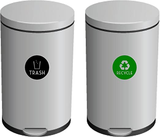 Amazon Com Recycle And Trash Vinyl Lettering Decal Sticker 4 X 4 Green Recycle W Black Trash Home Kitchen