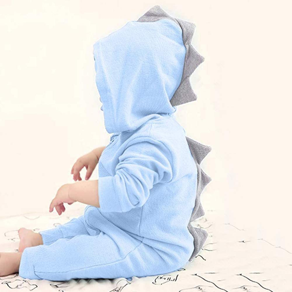 Newborn Baby Boys Girls Outfits Dinosaur Hoodie Zip Pajamas Onesies
