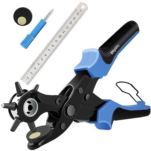 Alicate Sacabocados para Cinturones y Cuero, [Juego Completo] Diyife Agujero Perforadora Punzón de Cinturón, Herramienta de Alicate para Trabajo ...