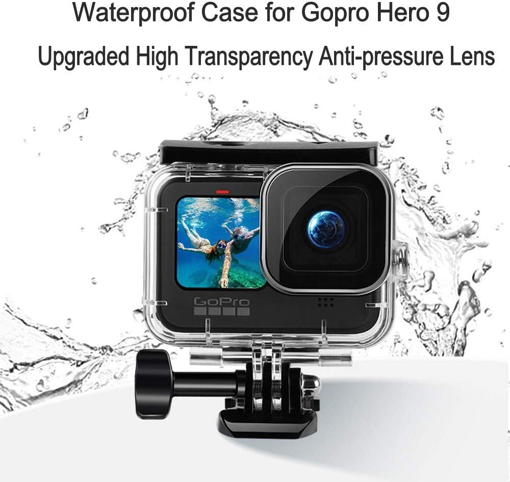 FunMax 50m//164FT Waterproof Case for GoPro Hero 9 Black Diving Protective Case with Bracket Accessories