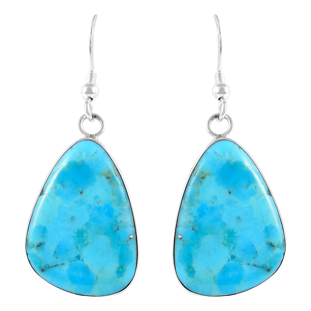 Turquoise Earrings Sterling Silver 925 & Genuine Turquoise (Classic Free-Form Drops)