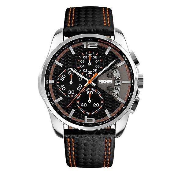 17fe701570 SKMEIビジネス防水クォーツ時計革の高級ファッションメンズレーシングスポーツ腕時計(オレンジ)