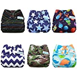 Mama Koala Pocket Cloth Diapers, 6 pcs + 6 Inserts, Star Tours, One Size