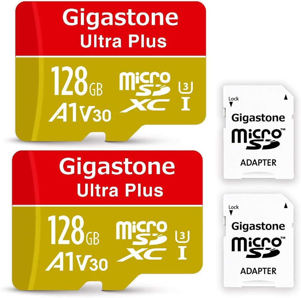 Gigastone 128GB 2-Pack Micro SD Card UHD 4K Video Recording High Speed 4K Gaming 95MB//s Micro SDXC UHS-I U3 C10 Class 10 Memory Card with Adapter A1 V30 Run App for Smartphone