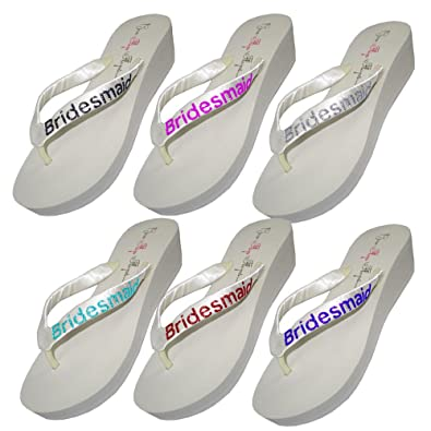 b2813740e35c Wedding Flip Flops Bridesmaid Bridesmaid Bridal Flip Flops Bride Bling  Glitter Wedge Wedding Platform Sandals Satin