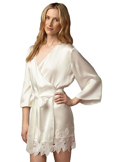 9c9ef04ceb Kelaixiang Short Bridal Robes Kimono Bathrobe Bridesmaid Robe with Sash  Style6-XXL at Amazon Women s Clothing store