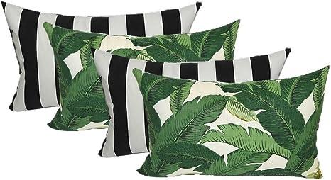 OutdoorIndoor Tommy Bahama Reversible Cushion Cover Green Tropical Palm Black /& white stripes   Coastal  Beach House Banana leaves