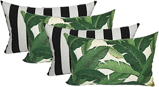 Amazon Com Set Of 4 Indoor Outdoor Decorative Lumbar Rectangle Pillows 2 Made With Tommy Bahama Swaying Palms Aloe Green Tropical Palm Leaf Fabric And 2 Black And White Stripe Fabric Home Kitchen