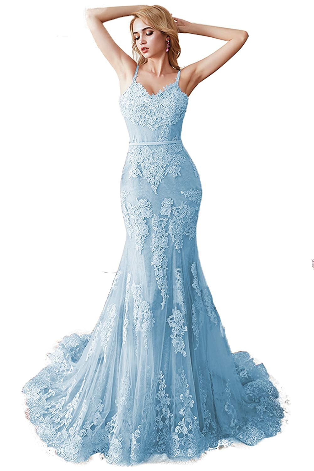 bluee Promworld Women's Spaghetti Strap Lace Applique Mermaid Prom Dress Tulle Formal Dress Evening Gowns
