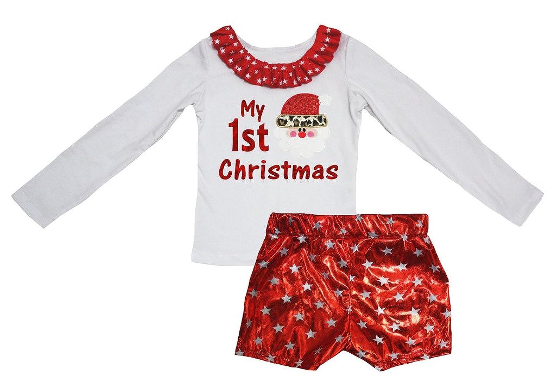Petitebella My 1st Christmas Santa White L/s Shirt Star Red Bling Short Set 1-8y