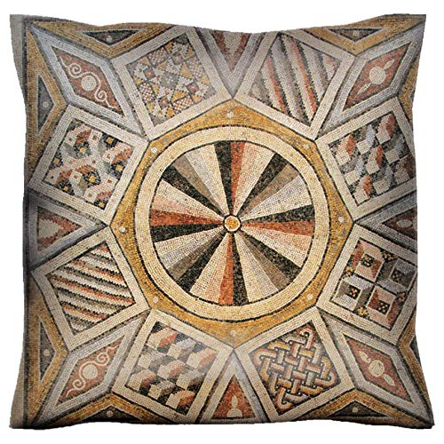(MSD Handmade 22X22 Throw Pillow case Polyester Satin Pillowcase Decorative Soft Pillow Covers Protector Sofa Bed Couch Image 10496253 Roman Mosaic Tile Floor with Geometric Pattern)