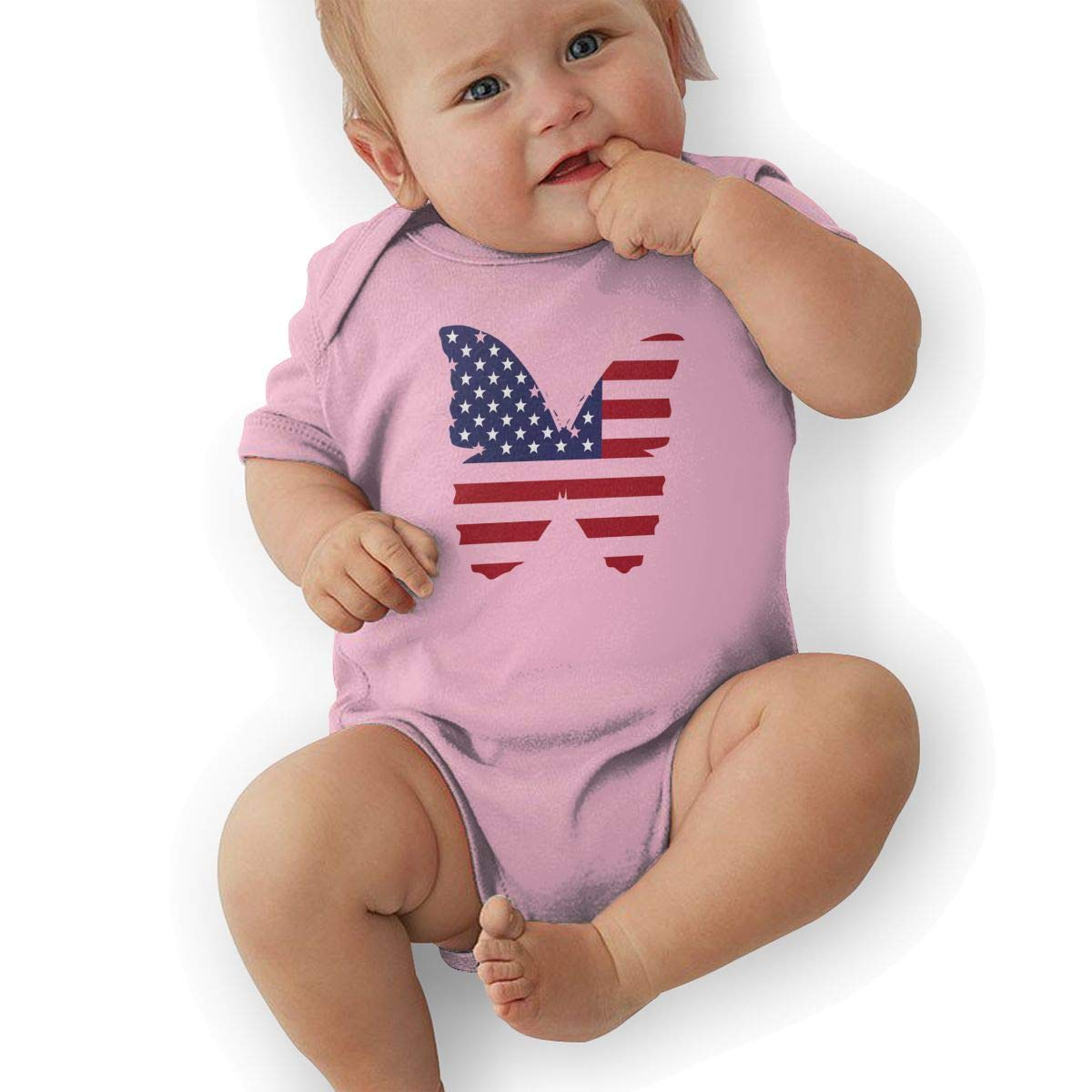 American Flag Butterfly Newborn Baby Short Sleeve Romper Infant Summer Clothing