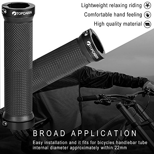 TOPCABIN Double Lock on Locking Bicycle Handlebar Grips Cycle Bicycle Mountain Bike BMX Floding (Black) by TOPCABIN (Image #3)