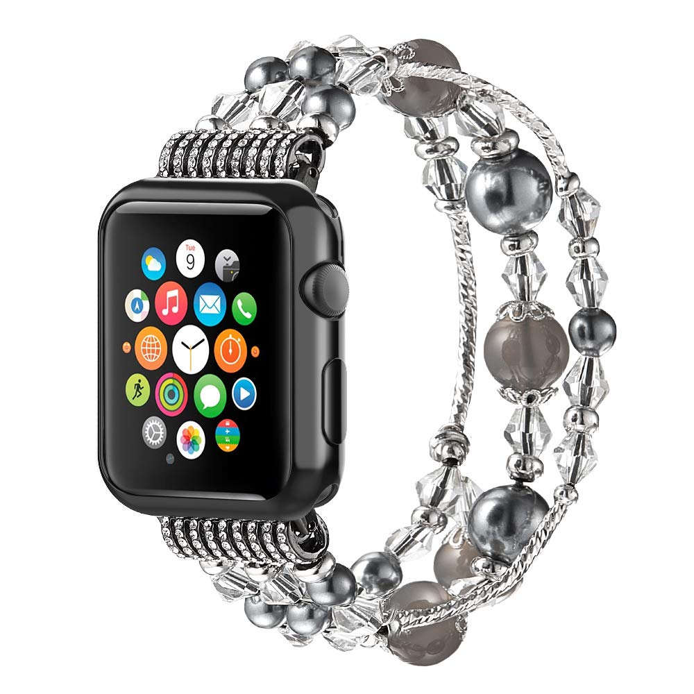 Anjoo Compatible for Apple Watch Band 38mm with Protective Black Case, Fashion Jewelry Elastic Stretch Pearl Bracelet Replacement Women Girls Strap for iWatch Series 3/2/ 1 - Black/Grey