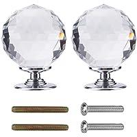 Crystal deurknoppen 60mm Diamond Pull Handvat Clear Glass Deurknop Massief Ronde Crystal Cut Facet met Schroef en…