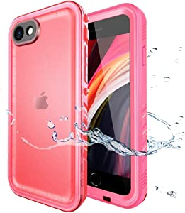 SPORTLINK Waterproof Case for iPhone SE 2020/iPhone 7/8, Full Body Heavy Duty Protection Full Sealed Cover Shockproof Dustproof Built-in Clear Screen Protector Rugged Case for iPhone SE (2nd Gen) Pink