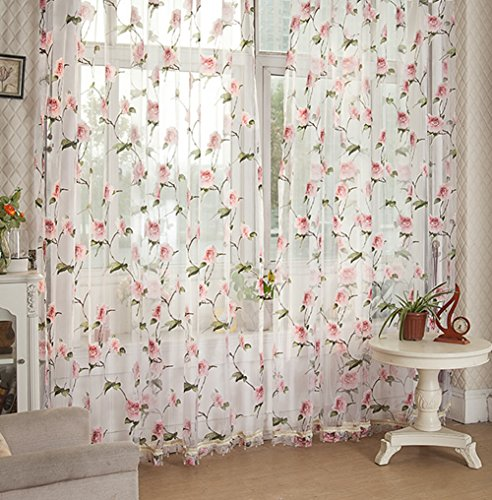 Transparent Beads Mauve (Sheer Curtains Countryside Flower Burnt-Out Design Rod Pocket Voile Transparent Treatments Bead Decoration for Living Room & Bedroom(1 Panel, W 100 x L 84 inch, Red))