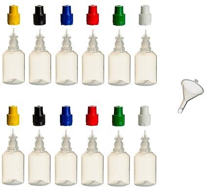 12 Unidades de 30 ml PP de botellas con tapas de colores + relleno de embudo