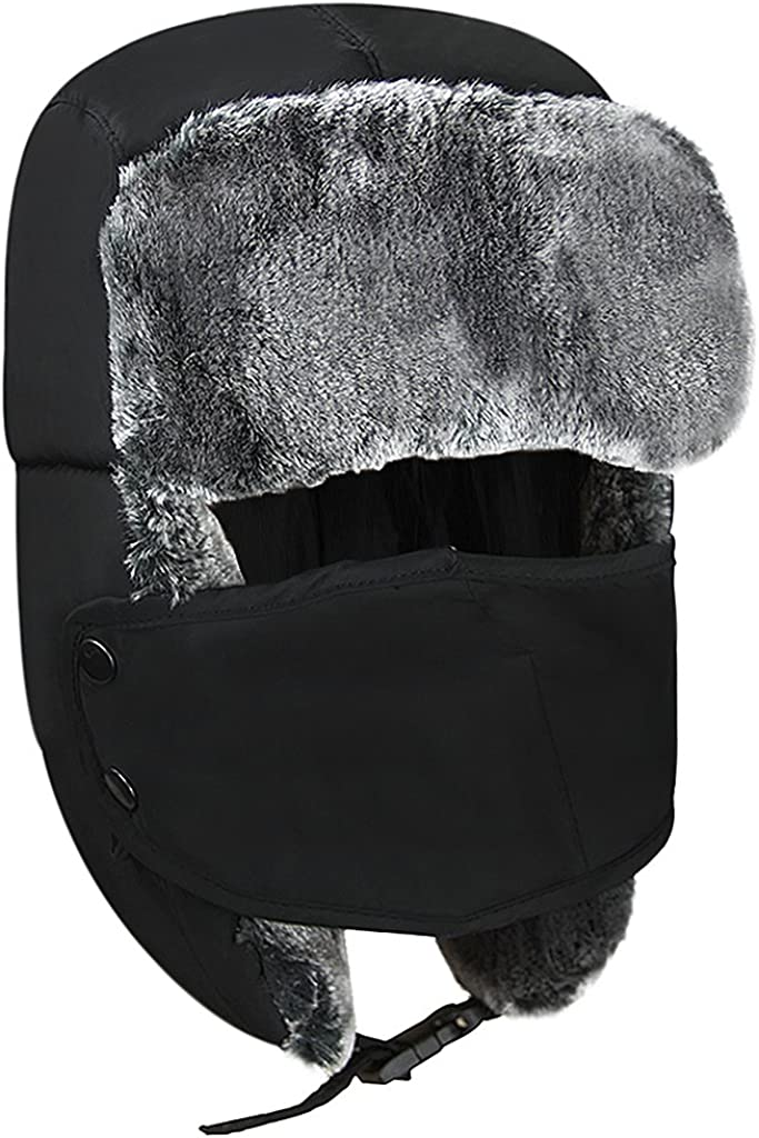 Kids Winter Trapper Hat Ushanka Earflap Hat Face Mask Thermal Fleece Russian Cap