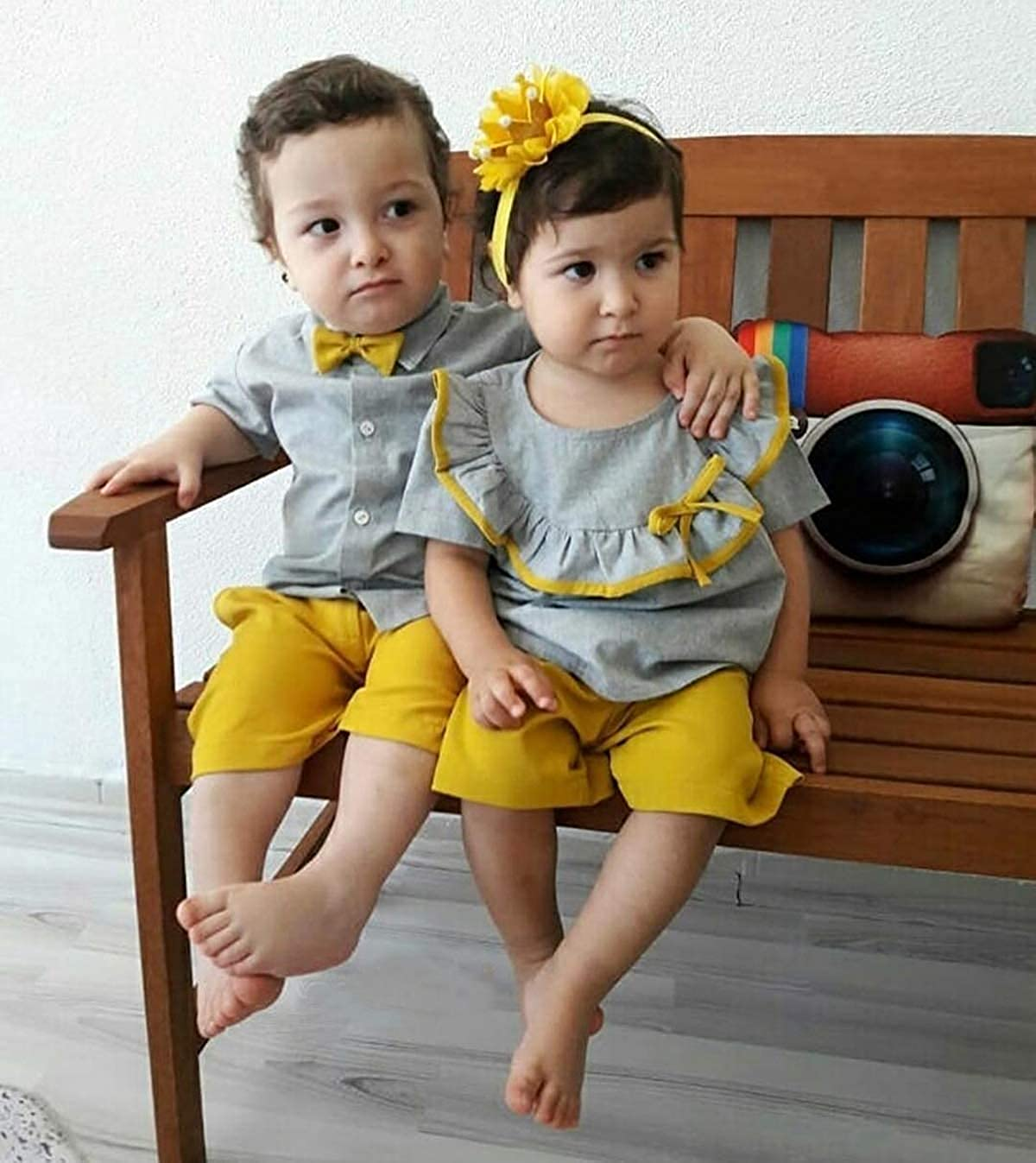 Carolilly Neugeborenes Baby Kleidung Set R/üschen T-Shirt Top Gentleman Outfit Zwillinge Geschenk