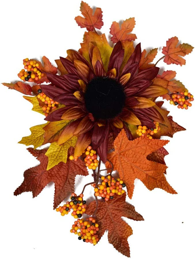 Autumn Decorative Swag with Sunflowers,Maple Leaves and Berries, Wreaths and Floral Decorations Front Door Wall Decor Holiday Ornaments
