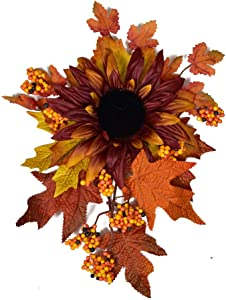 Fall Harvest Swag - Autumn Decorative Swag with Sunflowers,Maple Leaves and Berries, Wreaths and Floral Decorations Front Door Wall Decor Holiday Ornaments