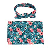 YiZYiF Newborn Baby Swaddle Wrap Photography Blanket With Flower Headband Set (Teal Floral)