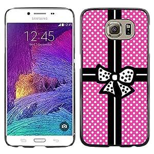 Paccase / SLIM PC / Aliminium Casa Carcasa Funda Case Cover - Pink Polka Dot Package Black Bowtie - Samsung Galaxy S6 SM-G920