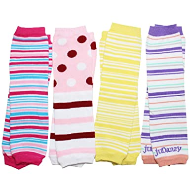 Polka Dots juDanzy 3 Pair Baby Boy And Girl Leg Warmers Bright Rainbow