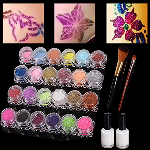 Glitter Tattoo Kit, 24Colour Large Glitter Set Glitter Temporary Henna Tattoos/Body Art Painting with Tattoo Stencils,3 Body Adhesive&2 Cosmetic Brushes- Kids, Teens & Adult
