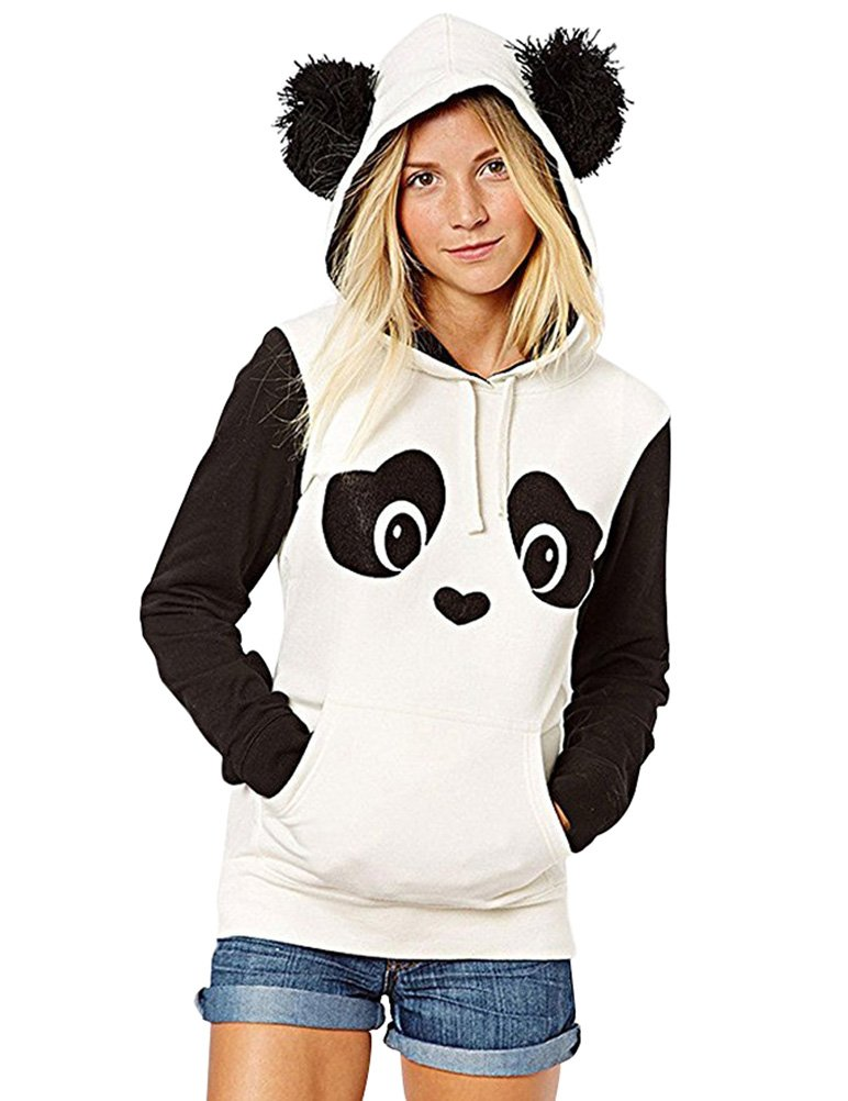 WuLun Women's Cute Panda Print White and Black Fleece Hoodie Sweatshirts Tops Pullover (Large, Black&White)