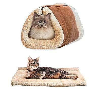 Happy FD 2 en 1 túnel alfombrilla de lujo cojín gato de mascota Perro Cachorro calefacción forro polar sofá cama manta pad: Amazon.es: Productos para ...