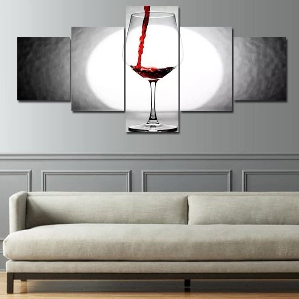 Amazon Com Black And White Paintings Red Wine Cup Pictures 5 Piece Prints On Canvas Modern Wall Art Giclee Living Room Home Decor Contemporary Abstract Artwork Stretched And Framed Ready To Hang 50 Wx24 H Posters