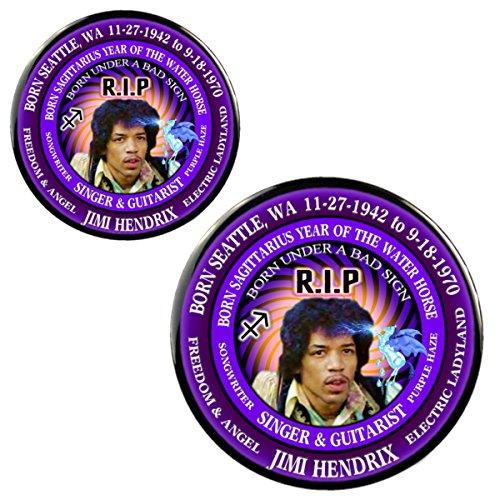 Jimi Hendrix RIP Singer Magnet + Pin, Born Astrology Sagittarius Zodiac Water Horse