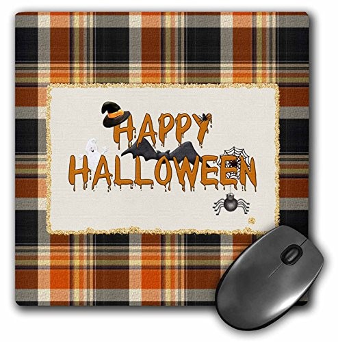 3dRose Beverly Turner Halloween Design - Happy Halloween, Witch Hat, Bat, Spider, Web, Ghost, Plaid - Mousepad (mp_212222_1)