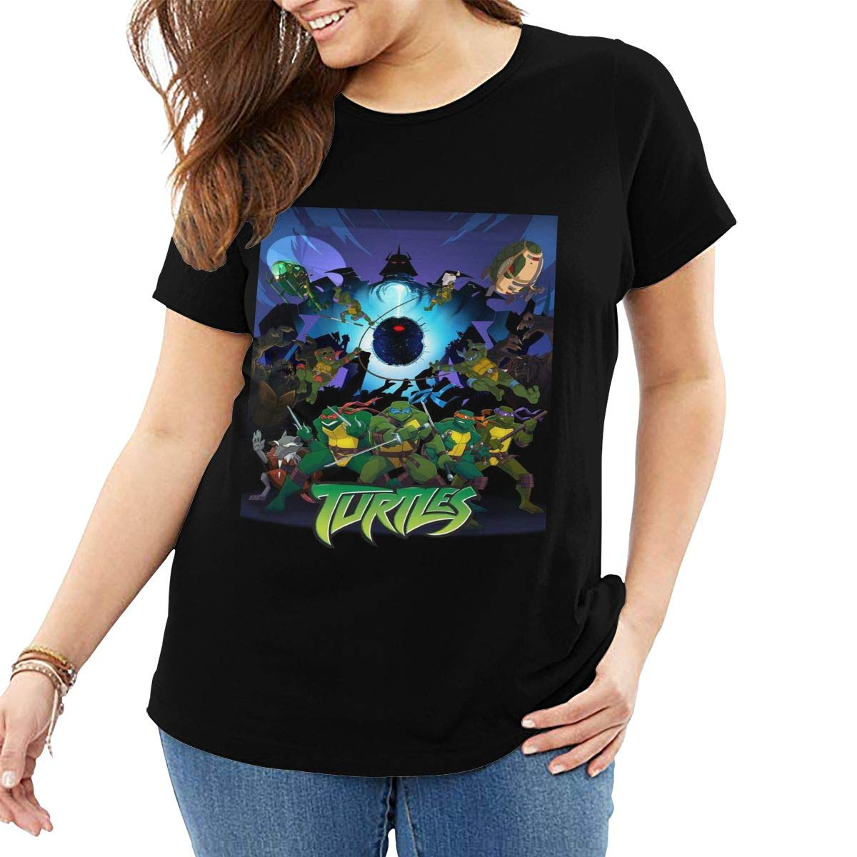Teenage Mutant Ninja Turtles Women's Plus Size Short Sleeve Button T Shirt
