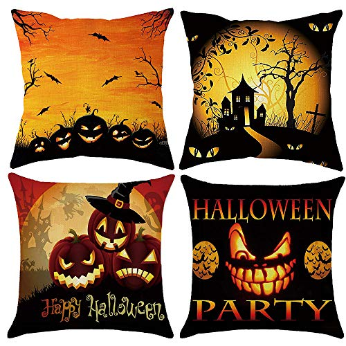 Z-CGiftHome 4 Packs Happy Halloween Pumpkin Series Throw Pillow Cover - 18 X 18 Inch Halloween Decor Pillow Cases with Scary Skull Black Cat Bat and Witch Element (Happy Halloween, 18